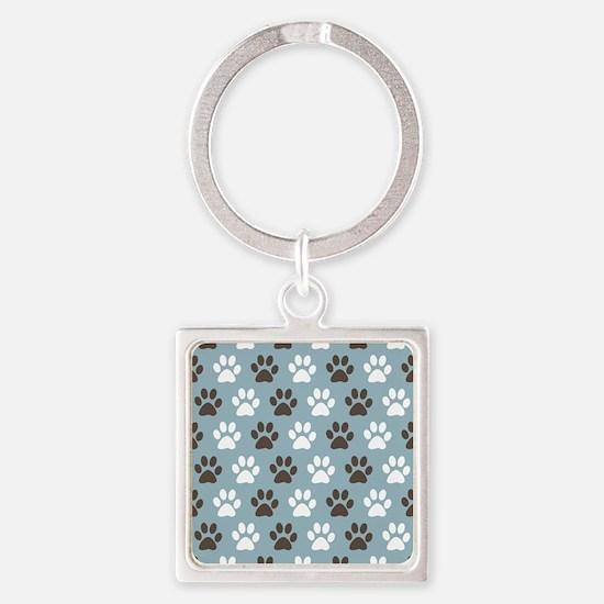 Paw Print Pattern Square Keychain