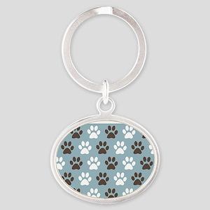 Paw Print Pattern Oval Keychain
