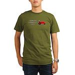 Red Christmas Tractor Organic Men's T-Shirt (dark)