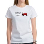 Red Christmas Tractor Women's T-Shirt