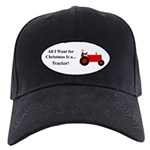 Red Christmas Tractor Black Cap