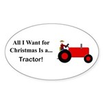 Red Christmas Tractor Sticker (Oval 10 pk)