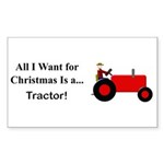 Red Christmas Tractor Sticker (Rectangle 50 pk)