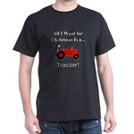 Red Christmas Tractor Dark T-Shirt