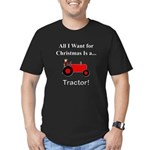 Red Christmas Tractor Men's Fitted T-Shirt (dark)