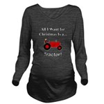 Red Christmas Tracto Long Sleeve Maternity T-Shirt