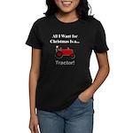 Red Christmas Tractor Women's Dark T-Shirt