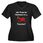 Red Christma Women's Plus Size V-Neck Dark T-Shirt