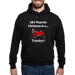 Red Christmas Tractor Hoodie (dark)