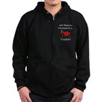 Red Christmas Tractor Zip Hoodie (dark)