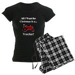 Red Christmas Tractor Women's Dark Pajamas