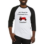 Red Christmas Tractor Baseball Jersey