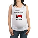Red Christmas Tractor Maternity Tank Top