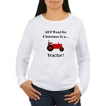 Red Christmas Tractor Women's Long Sleeve T-Shirt