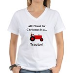Red Christmas Tractor Women's V-Neck T-Shirt