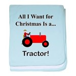 Red Christmas Tractor baby blanket