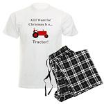 Red Christmas Tractor Men's Light Pajamas