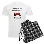 Red Christmas Tractor Men's Light Pajamas