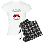 Red Christmas Tractor Women's Light Pajamas