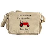 Red Christmas Tractor Messenger Bag