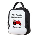 Red Christmas Tractor Neoprene Lunch Bag