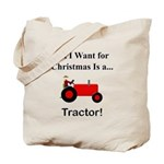 Red Christmas Tractor Tote Bag