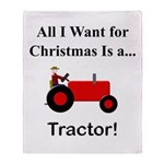 Red Christmas Tractor Throw Blanket