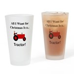 Red Christmas Tractor Drinking Glass
