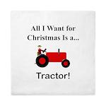 Red Christmas Tractor Queen Duvet