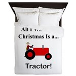 Red Christmas Tractor Queen Duvet