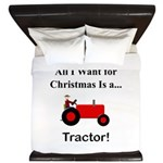 Red Christmas Tractor King Duvet