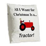 Red Christmas Tractor Burlap Throw Pillow