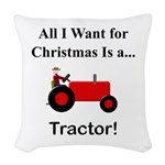 Red Christmas Tractor Woven Throw Pillow