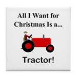 Red Christmas Tractor Tile Coaster