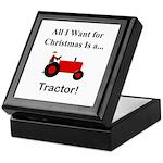 Red Christmas Tractor Keepsake Box