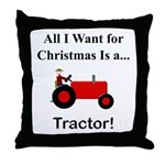 Red Christmas Tractor Throw Pillow