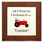 Red Christmas Tractor Framed Tile