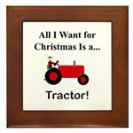 Red Christmas Tractor Framed Tile
