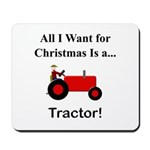 Red Christmas Tractor Mousepad