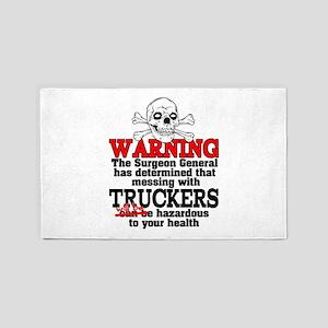 Trucker Warning 3'x5' Area Rug