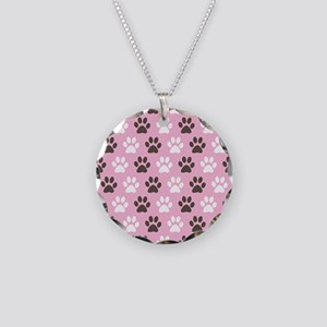 Paw Print Pattern Necklace Circle Charm