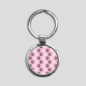 Paw Print Pattern Round Keychain
