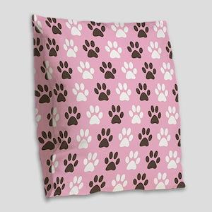 Paw Print Pattern Burlap Throw Pillow