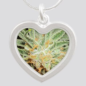 Cannabis Sativa Flower Silver Heart Necklace