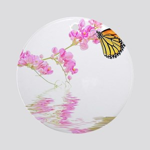 Butterfly and Flower Ornament (Round)