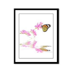 Butterfly and Flower Framed Panel Print