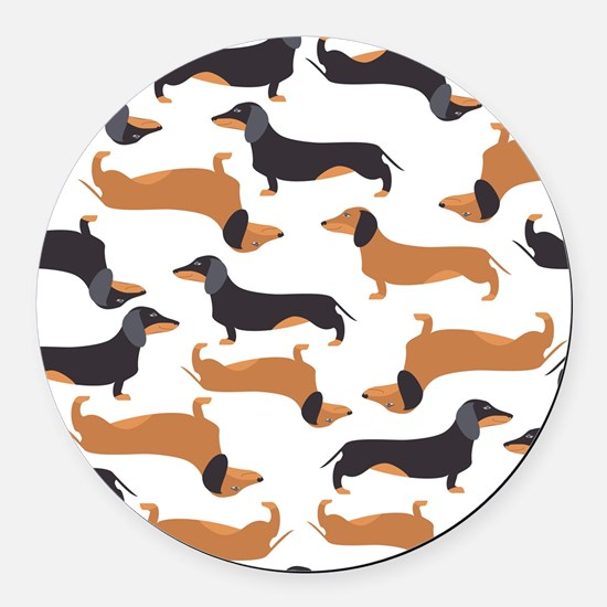 Cute Dachshunds Round Car Magnet