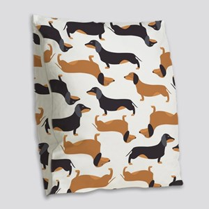 Cute Dachshunds Burlap Throw Pillow