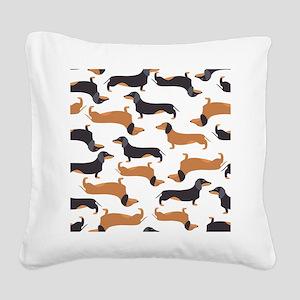 Cute Dachshunds Square Canvas Pillow