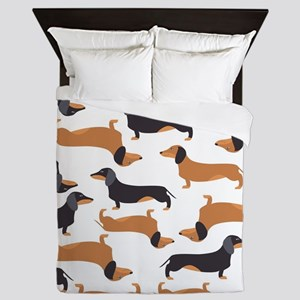 Cute Dachshunds Queen Duvet